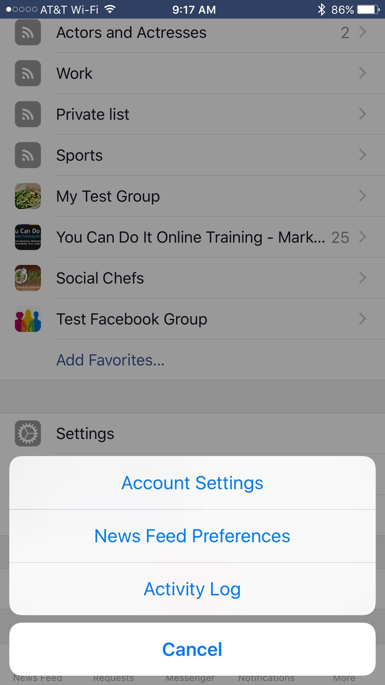 Facebook account settings
