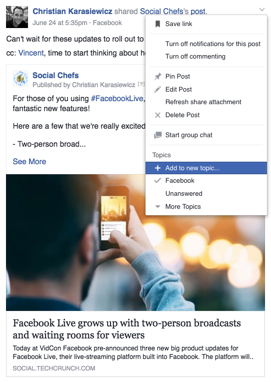 How to add a Facebook Group topic