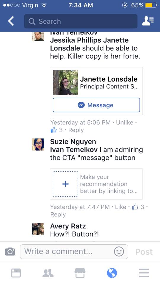 Message button in Facebook comments