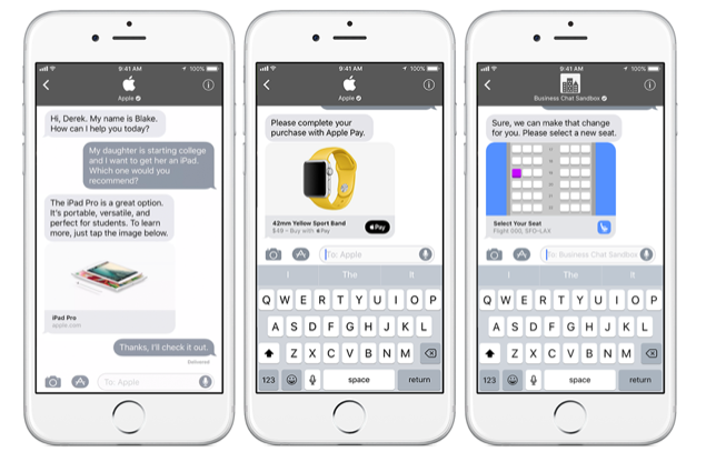 Business chat in Apple iMessage