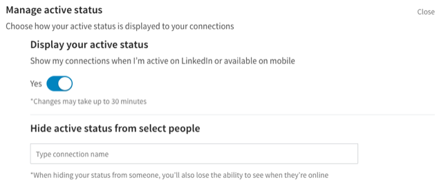 How to manage LinkedIn active status