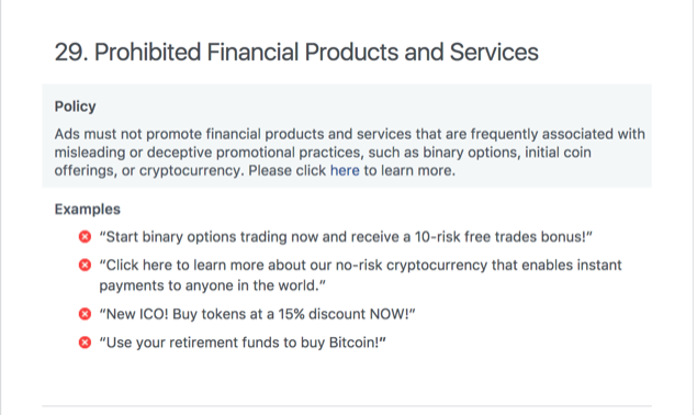 Facebook Ads cryptocurrency policy